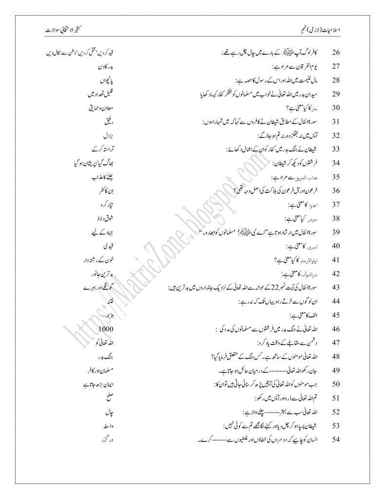 Class 9 Islamiat Notes Pdf Downalod 2