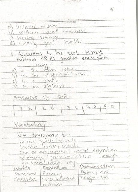 English Notes 10 th Page 05