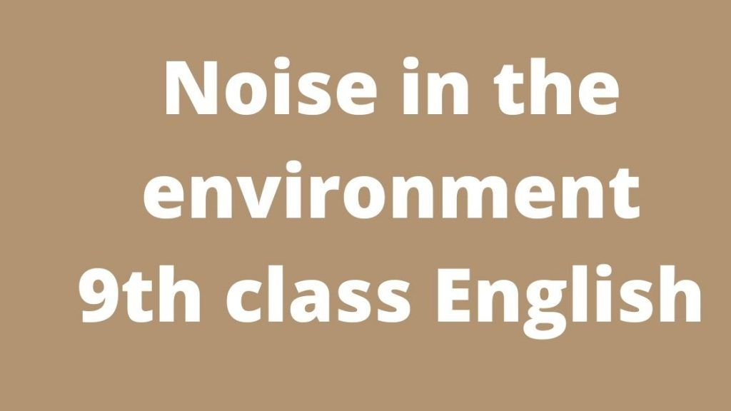 Noise in the environment 9th class English