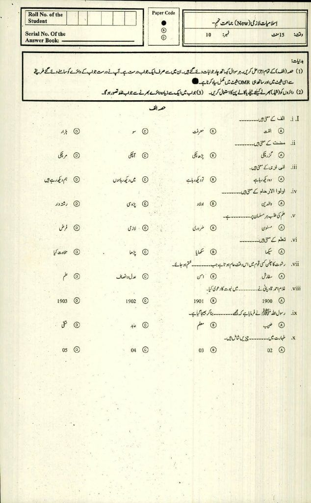 BISE Saidu Sharif Swat SSC 9th Model Papers Pdf Download 2