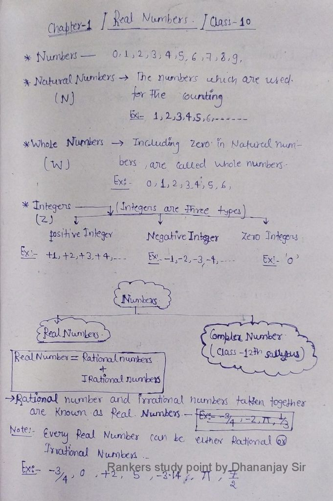 Euclid division lemma class 10 Handwritten pdf Notes