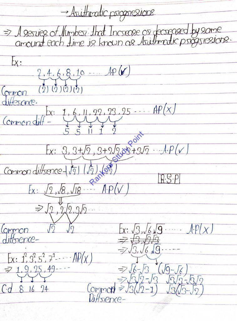 Ncert Arithmetic Progression Class 10 Notes Downalod 2021