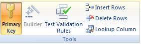 Primary Key in tools menu