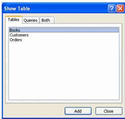Show table dialog