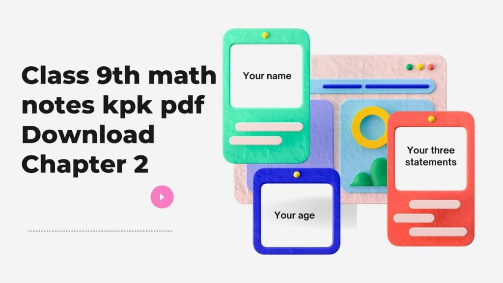 Class 9th math notes kpk pdf Download Chapter 2 Pdf