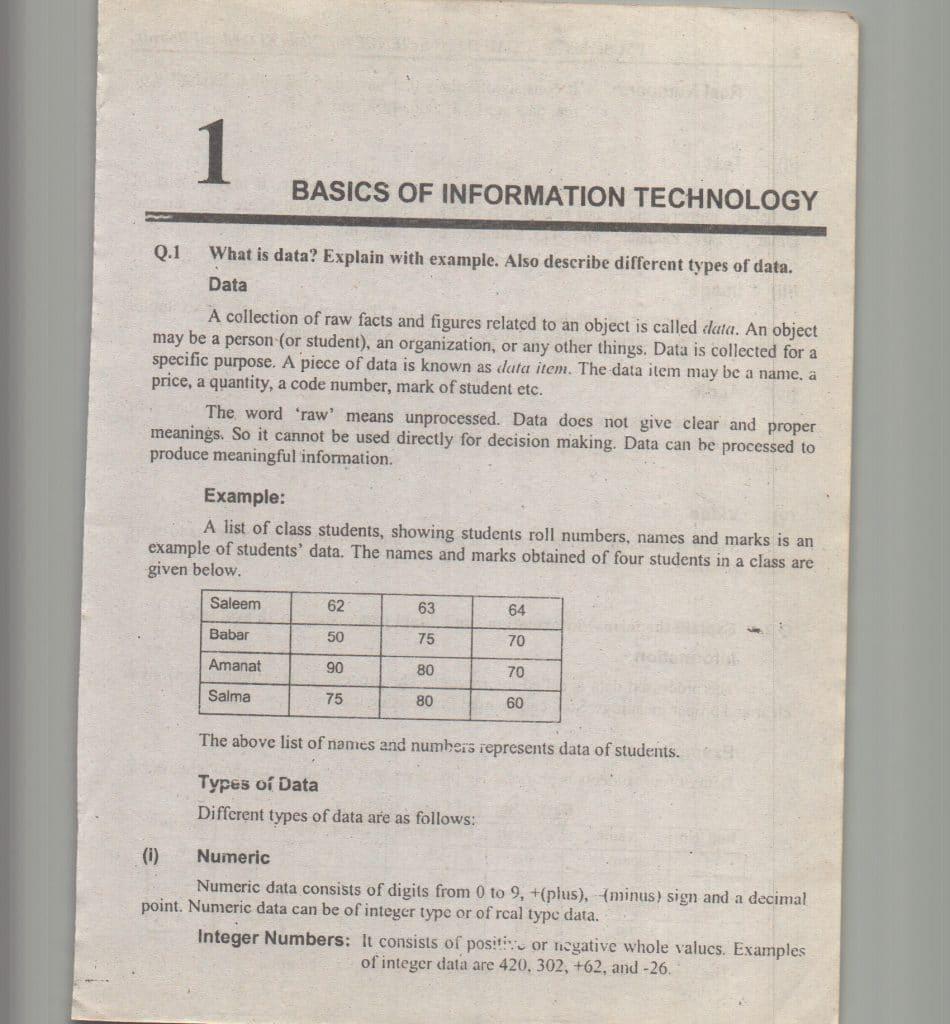 Computer Science Class XI ICS 1 federal board 6