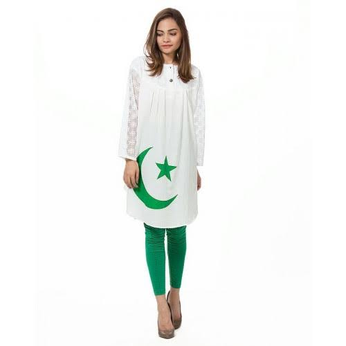 Pakistan independence day cloth green and white