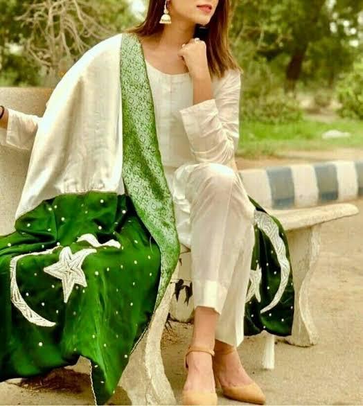 Pakistan independence day cloth green dress desig