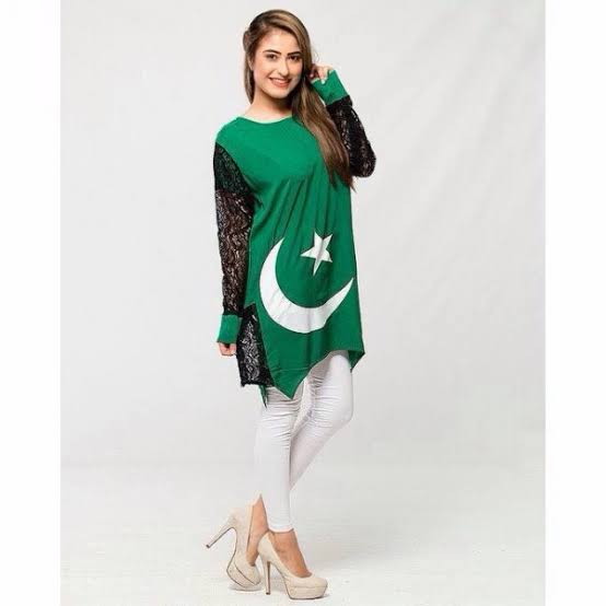 Pakistan independence day cloth green gril clothes