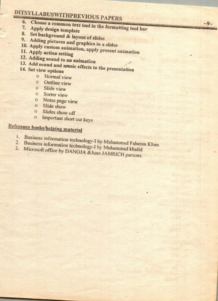 Previous questions papers syllabus dit part 1 part 2 10