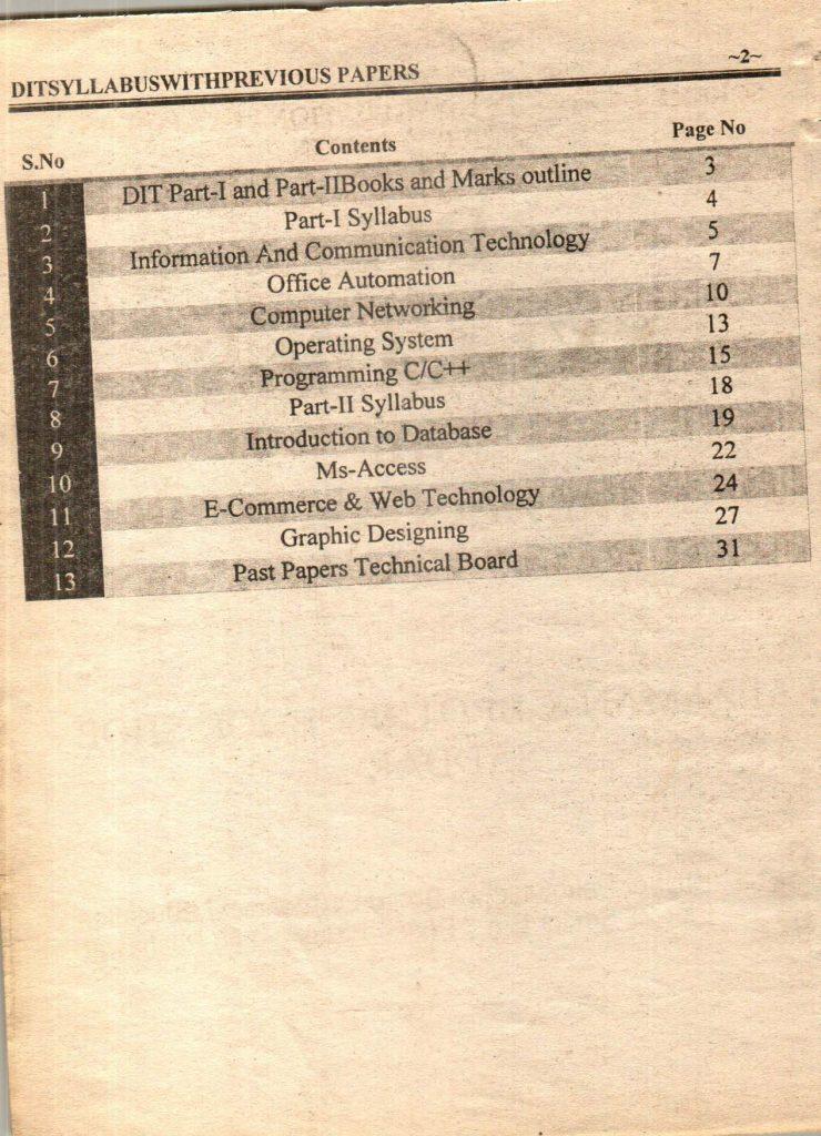 Previous questions papers syllabus dit part 1 part 2 3