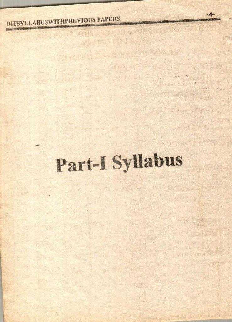 Previous questions papers syllabus dit part 1 part 2 5