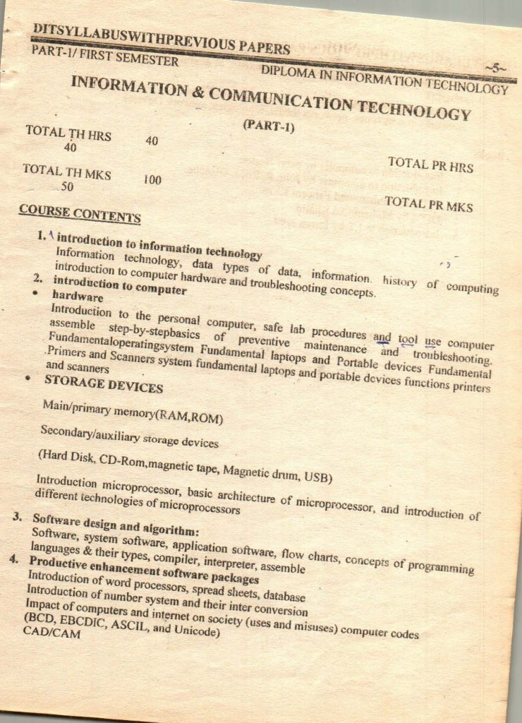 Previous questions papers syllabus dit part 1 part 2 6