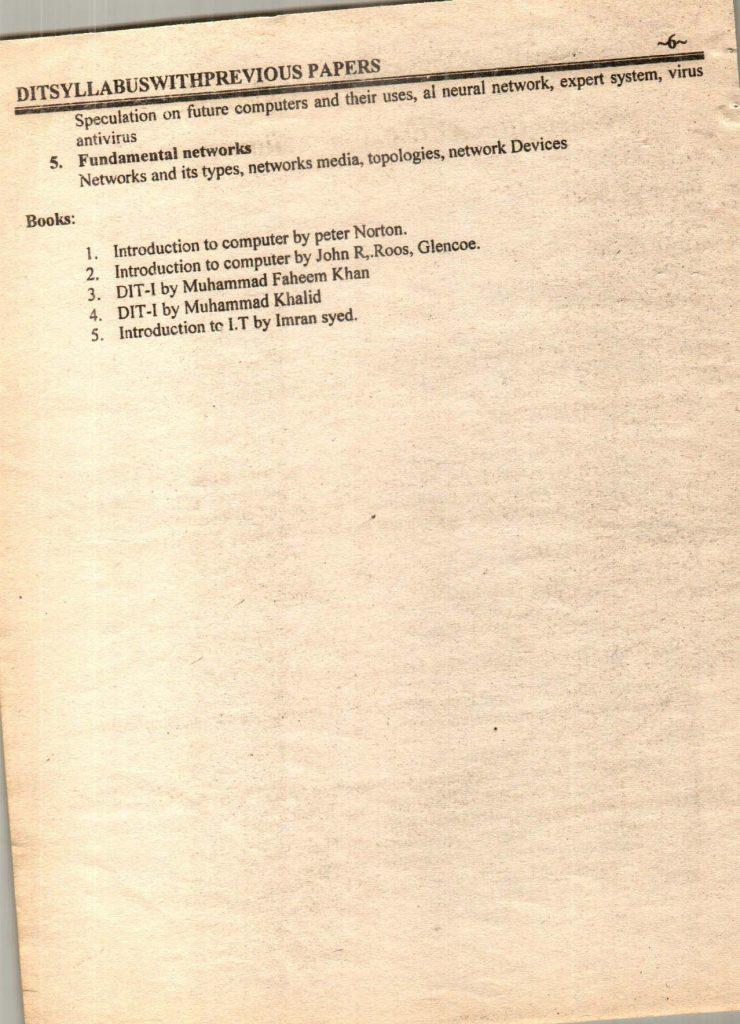 Previous questions papers syllabus dit part 1 part 2 7