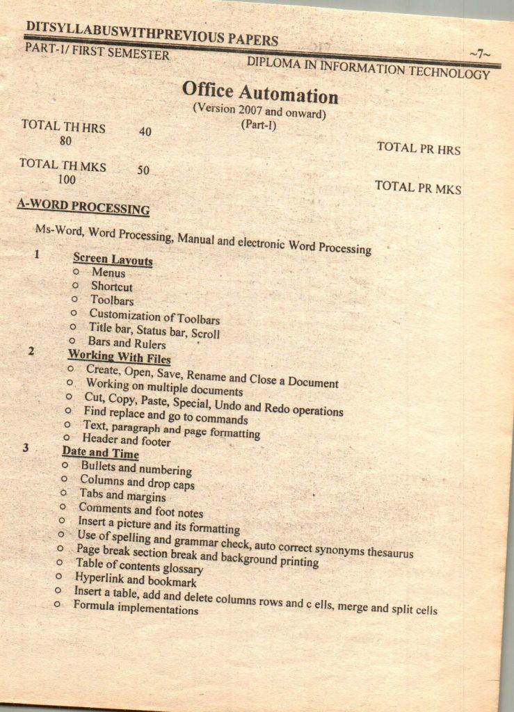 Previous questions papers syllabus dit part 1 part 2 8
