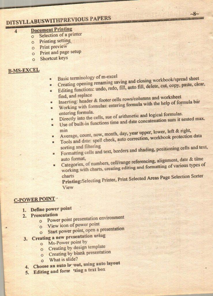 Previous questions papers syllabus dit part 1 part 2 9