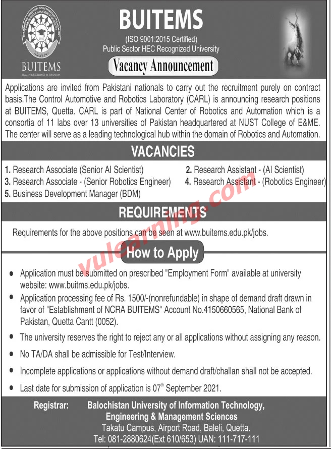 buitems quetta jobs 2021 for research associates research assistants business development manager latest