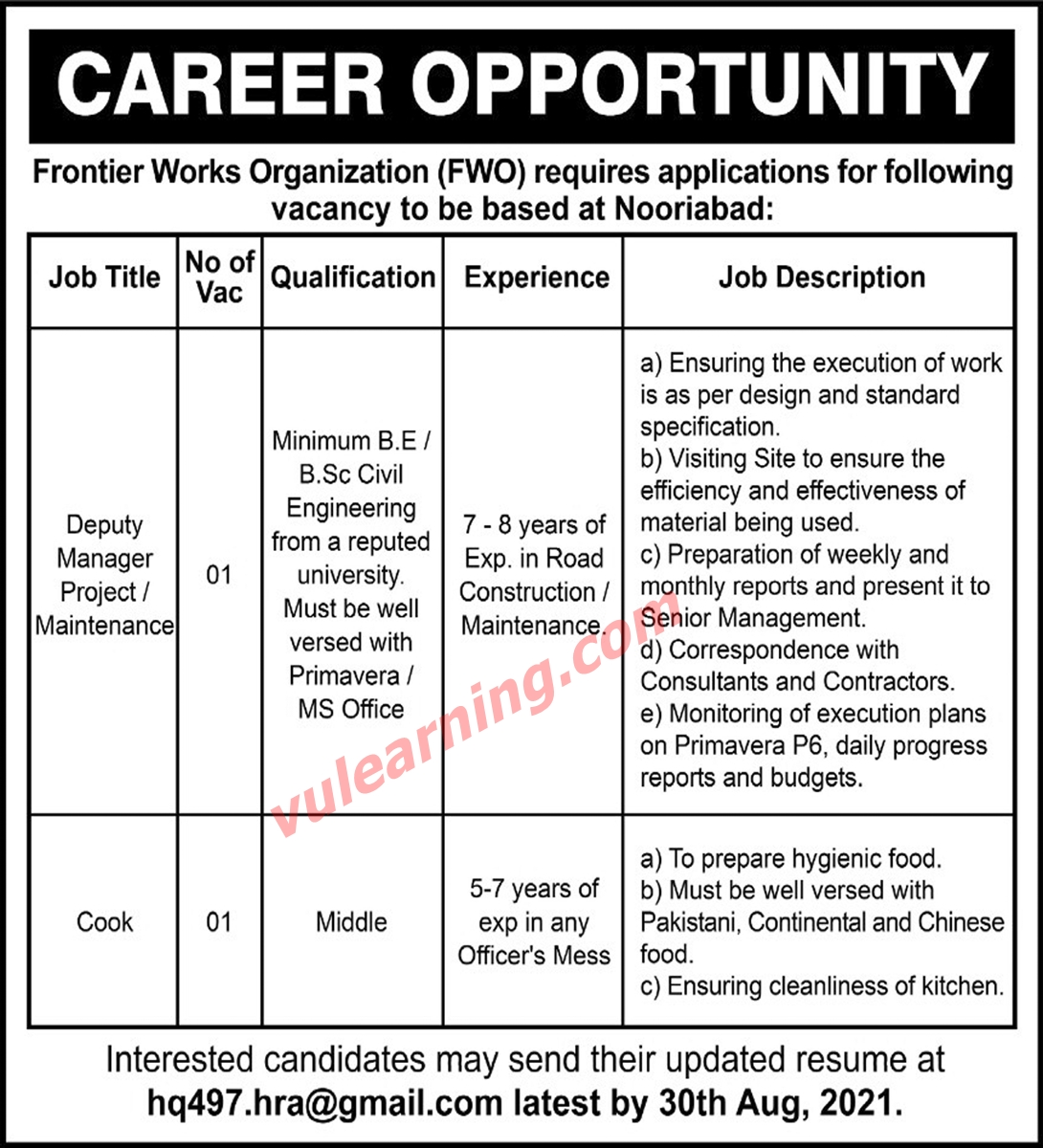 frontier works organization fwo jobs 2021 for deputy manager cook at nooriabad latest