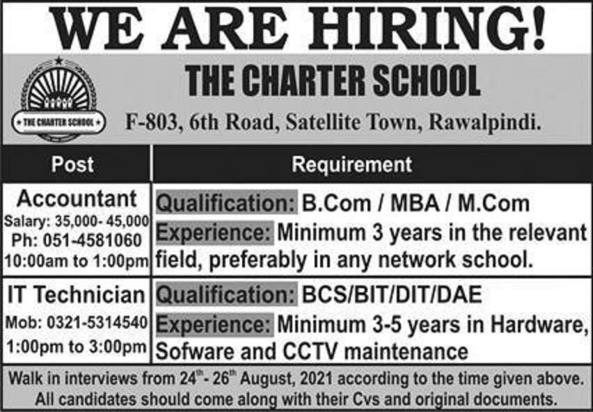 the charter school rawalpindi jobs 2021 for accountant it technician latest