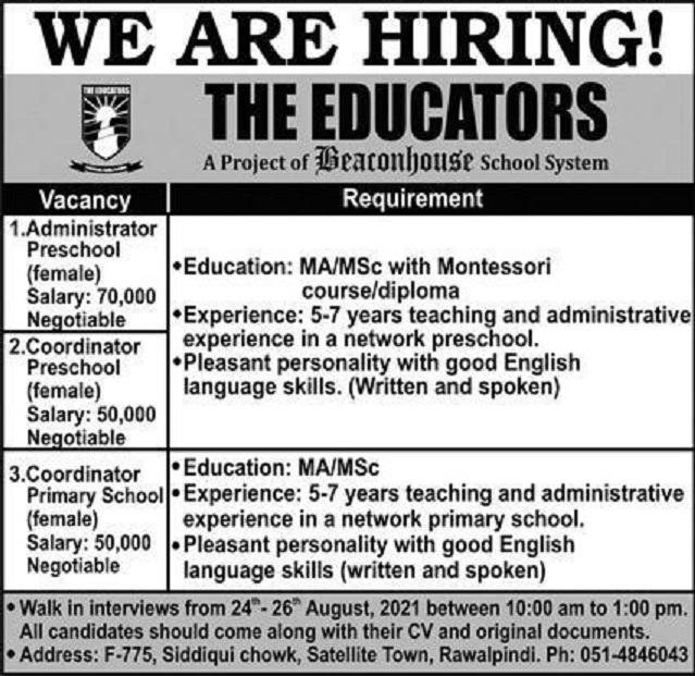 the educators rawalpindi jobs 2021 for coordinators administrator latest